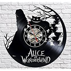 Alice In Wonderland Vinyl Record Wall Clock - Decorate your home with Modern Large Disney Art - Gift for kids, girls and boys - Win a prize for a feedback