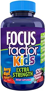 Focus Factor Kids Extra Strength Daily Chewable for Brain Health Support,