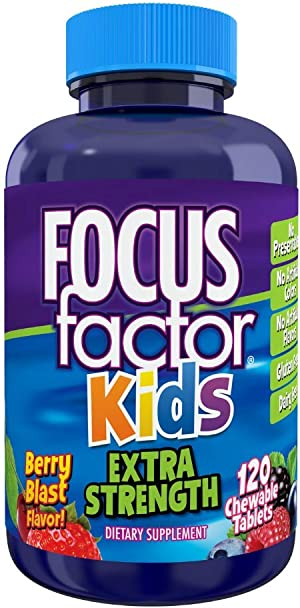 Focus Factor Kids Extra Strength Daily Chewable for Brain Health Support, 120 Count