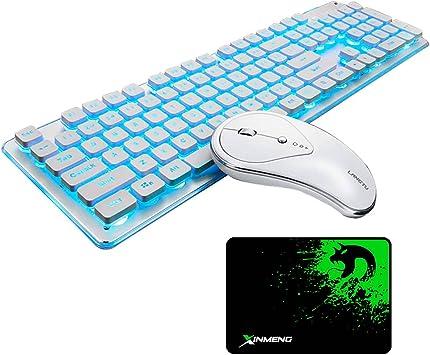 UrChoiceLtd Combo de teclado y ratón inalámbricos recargables Resistente al agua 2.4GHz Blanco / azul con retroiluminación y ratón inalámbrico sin ...