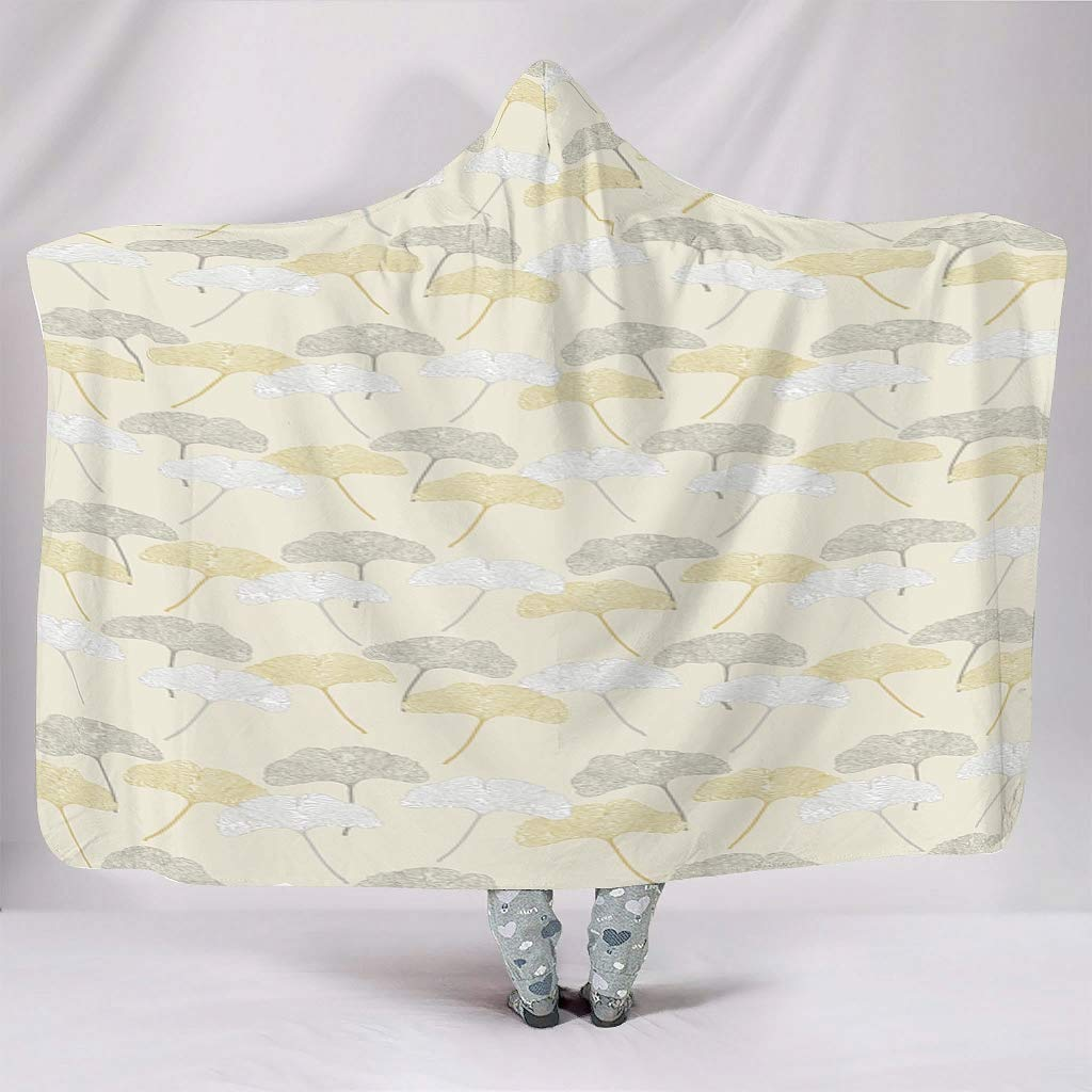 Sheeouis Plant Branches and Leaves Theme Hooded Blanket Oversized Novelty Throw Blanket Plush Fleece Blanket Cloak Cape for Home Sofa Bed Winter Spring White 60x80 inch