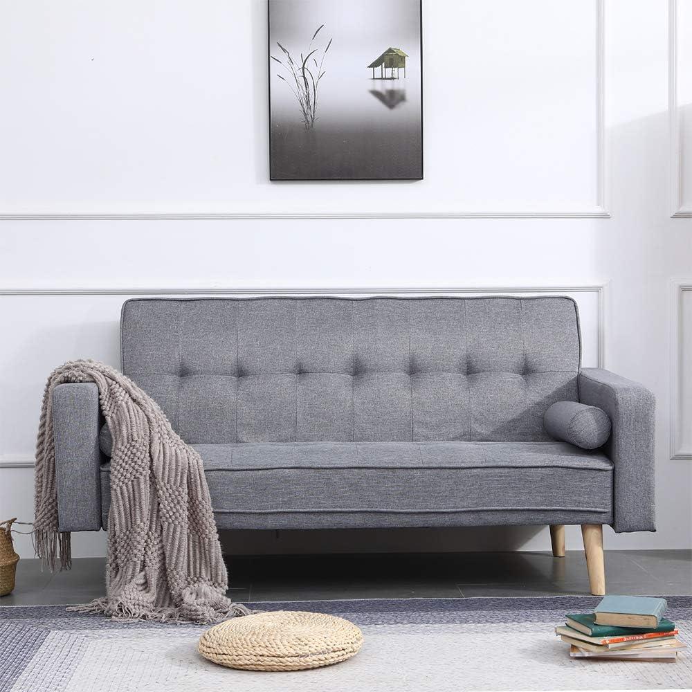 - Huisen Furniture Living Room Grey Sofa Bed 2 Seater Linen Fabric