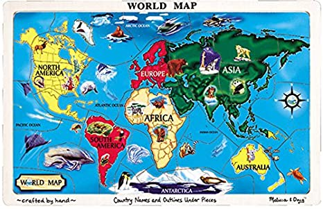 Amazon melissa doug world map jigsaw puzzle toys games melissa doug world map jigsaw puzzle gumiabroncs Image collections