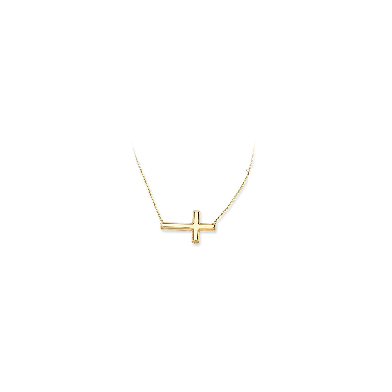 Ss E2W Small Sideways Cross Necklace DiamondJewelryNY Silver Pendant