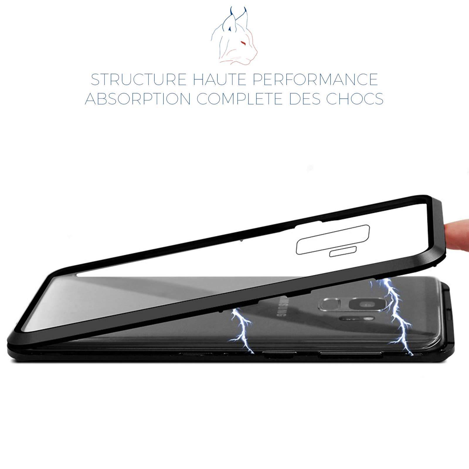 LINCIVIUS  Coque Compatible avec Samsung Galaxy S9, Coque de Protection 2 en 1 Aluminium et Verre Trempe Arrière et Contour Bumper Rigide pour Samsung Galaxy S9, Noir