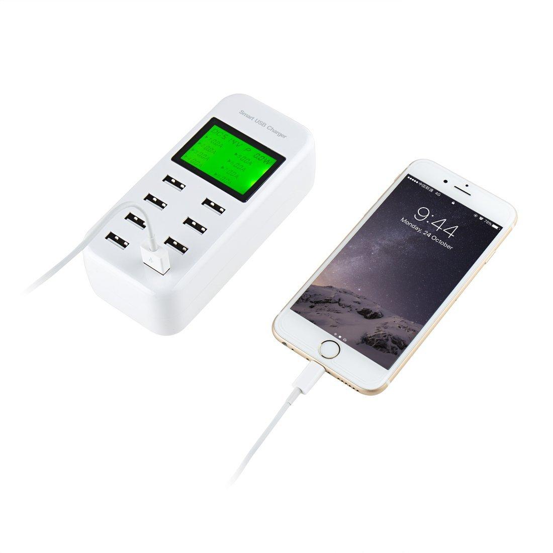 Amazon.com: eDealMax inteligente USB cargador de 40W 8A 8 Multi-Puerto de escritorio estación de carga Con pantalla LCD Para teléfonos tabletas de teléfono ...