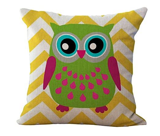 outflower ojos grandes búho serie patrón Vintage lino Lino Funda de almohada sofá funda de almohada Funda de cojín, algodón, lino, D, 45*45cm