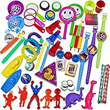 100 Piece Toy Assortment Stocking Stuffers (Includes: Wall Climbers , Glitter Megaphone Whistles , Miniature Playing Cards , Mini Cups and Ball Games , Plastic Bathtub Boats, Metal Police Badges , 3'' Parachutes , Yo Yo's , Rings, Finger Traps , and Other Small Toys for Party Favor Bags, Pi?ata, Carnival Prizes, or School Classroom Rewards)
