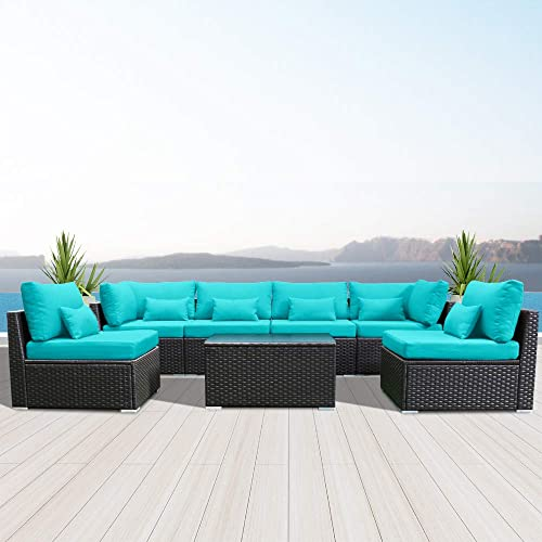 Modenzi 7G-U Outdoor Sectional Patio Furniture Espresso Brown Wicker Sofa Set Turquoise