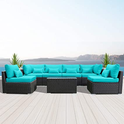 Modenzi 7G-U Outdoor Sectional Patio Furniture Espresso Brown Wicker Sofa Set (Turquoise)
