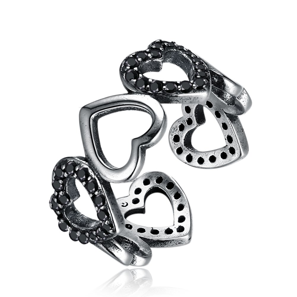 YJEdward 925 Silver Crystal Heart Black Ring Punk Jewelry Elegant Gift For Women Girl
