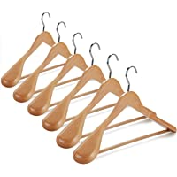 TOPIA HANGER Set of 6 Luxury Natural Wooden Coat Hangers, Premium Wood Suit Hangers, Glossy Finish with Extra-Wide…