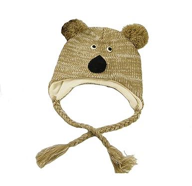 Aiklin Bébé Enfant Bonnet Tricot Pompon Protection Oreille Hiver (Koala) b2b919a65c2