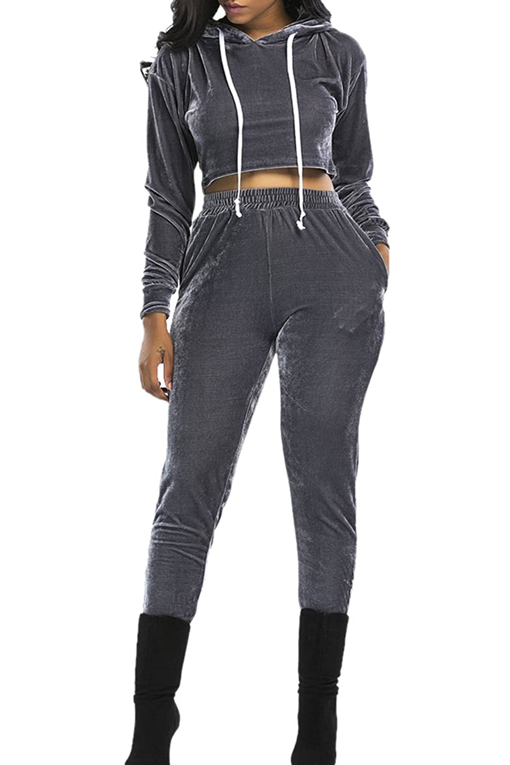 Linsery Women's 2 Piece Pleuche Long Sleeve Hooded Crop Top Pants Set Tracksuit