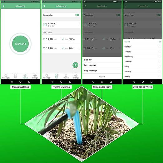 Bluetooth-Steuerung Intelligente Wasserzeitgeberpumpe Geeignet f/ür 8 Indoor-Topfpflanzen,EUPlug DIY-Selbstbew/ässerungssystem Automatisches Tropfbew/ässerungs-Kit