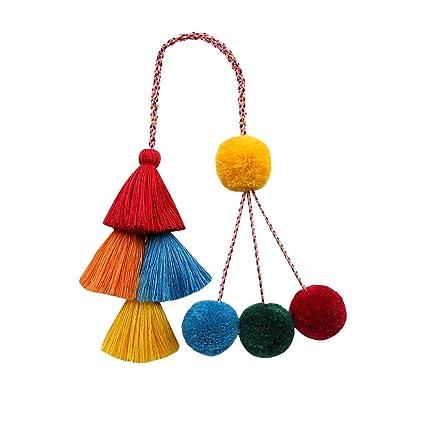 Gaddrt - Llavero de moda para mujer, con pompones de colores ...