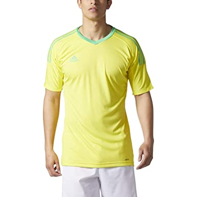 2be11146b Adidas Revigo 17 Mens Short Sleeve Goalkeeper Soccer Jersey YXS Bright  Yellow Energy Green
