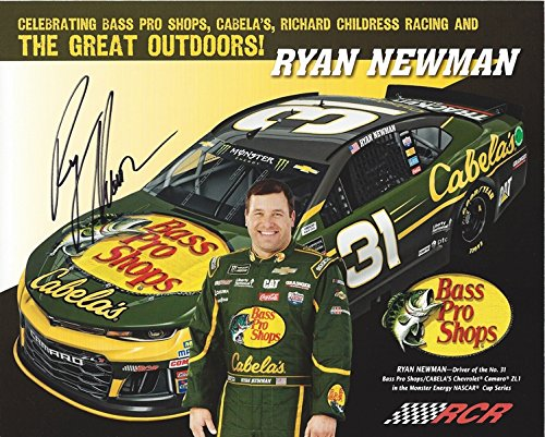 AUTOGRAPHED 2018 Ryan Newman #31 Bass Pro Shops/Cabelas Team (Richard Childress Racing) Monster Energy Cup Series Picture 8X10 Inch Signed NASCAR Hero Card ...