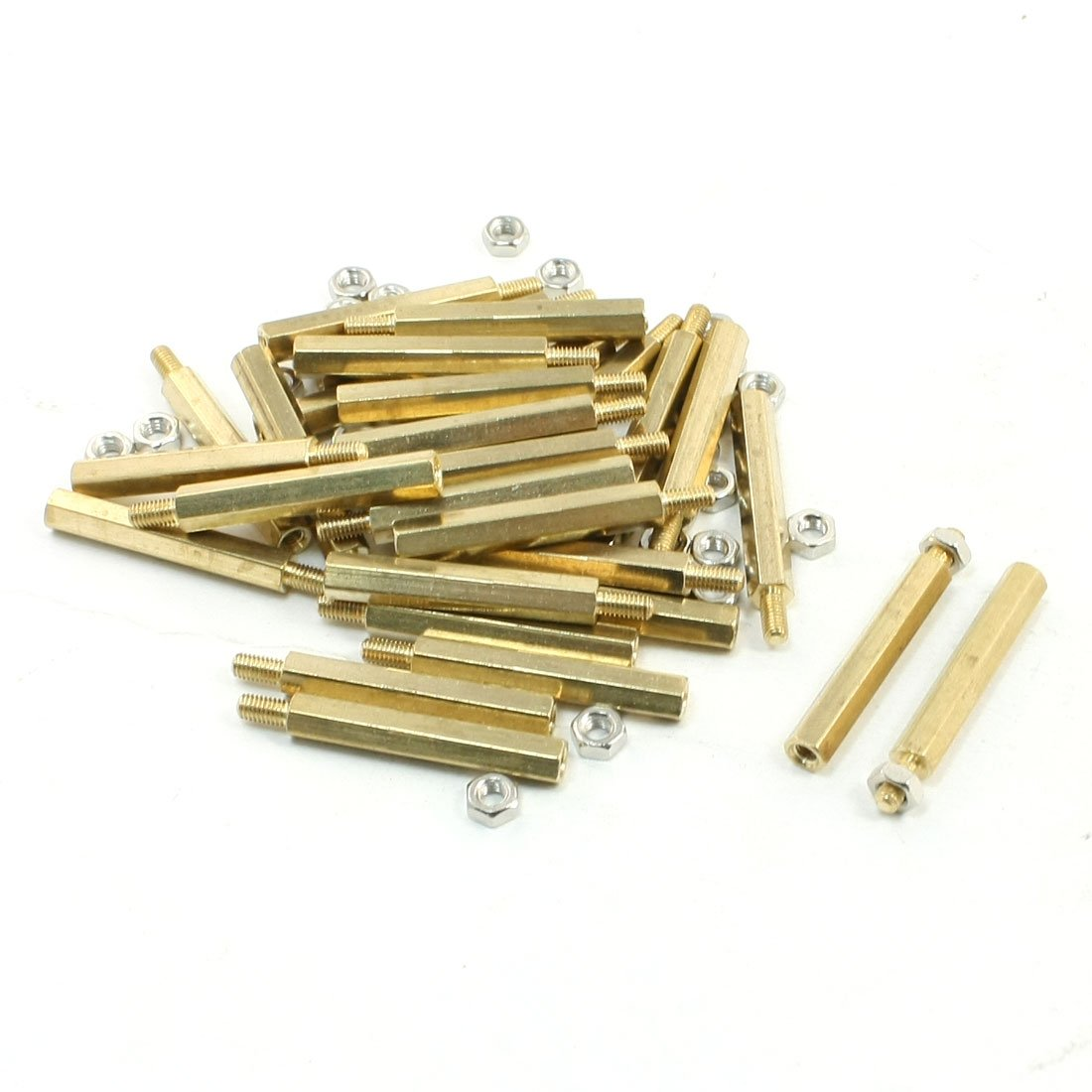 uxcell 30mm Body Long M3x6mm Male Female Brass Pillar Standoff Spacer 30Pcs