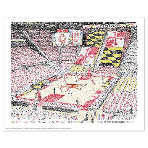 Terps Maryland Basketball - University of Maryland Xfinity Center Word Art Print - Handwritten with Every Men's Basketball Player in History - 16