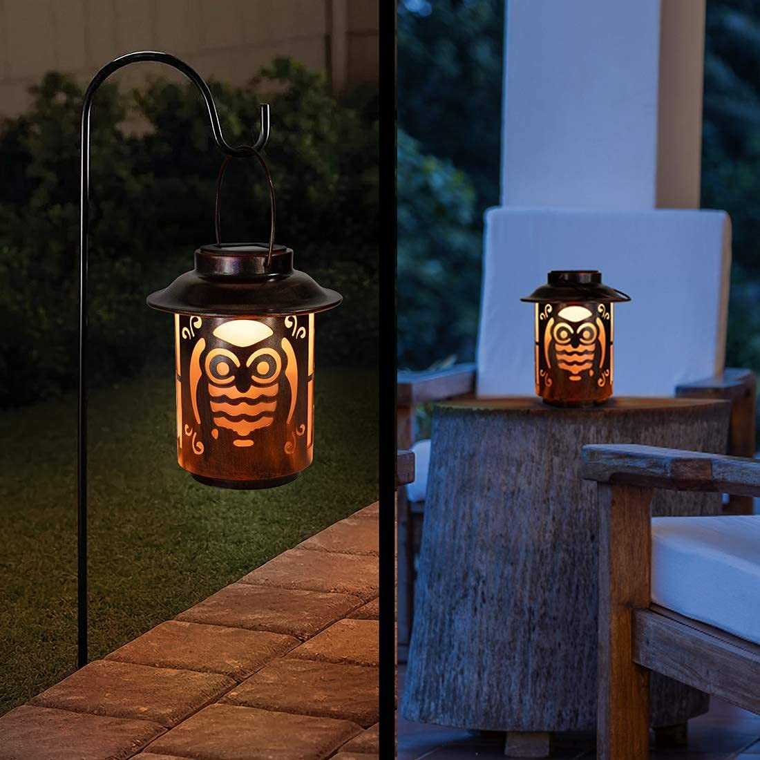 Outdoor Solar Lanterns Lights Hanging - Waterproof Cute Owl Vintage Metal Lamp ,Warm Light Decor for Outside Patio Garden,Lawn,Porch, Pathway,Courtyard, Table and Party Decorative Gifts