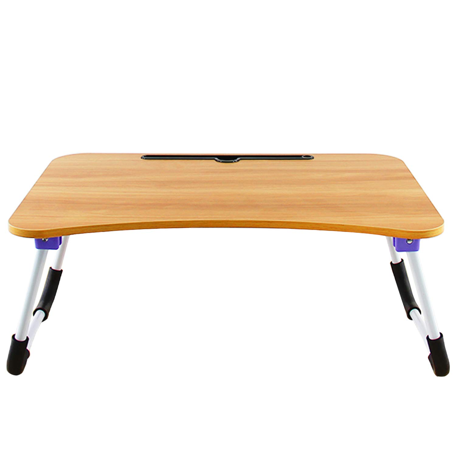 DL Furniture - Large Foldable Bed Tray Lap Desk, Perfect for Watching Movie on Bed Or As Personal Dinning Table | Natural Wood with Cell Phone Holder