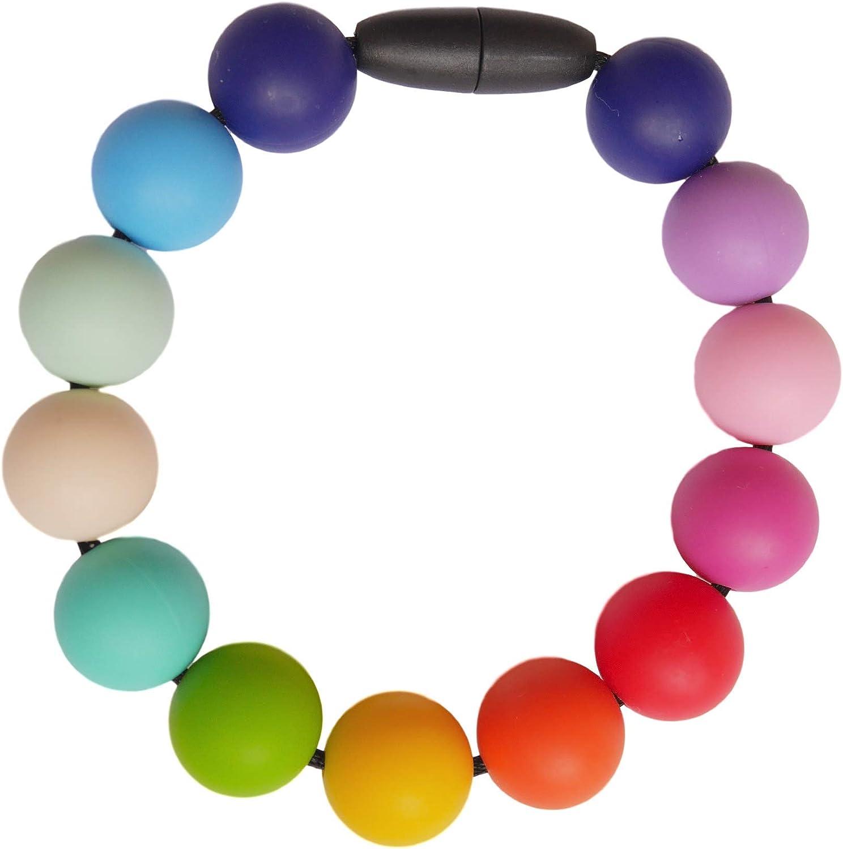 Rainbow Pulsera Morderdor Silicona para Bebés Lactantes sin BPA, Hecho a Mano por MilkMama