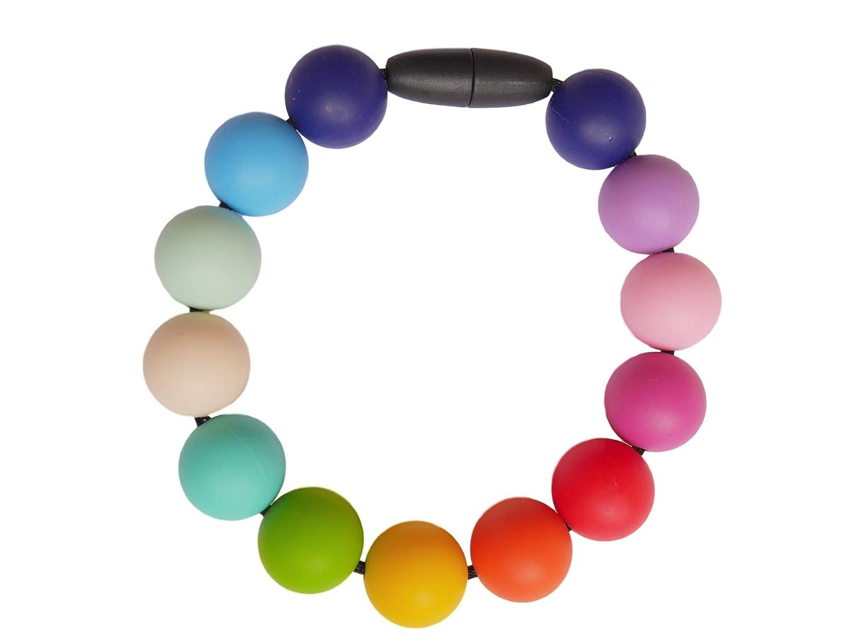 Sans BPA Fabriqu/é /à la Main MilkMama Bracelet de Dentition en Silicone Couleurs Arc-en-Ciel Perles Allaitement B/éb/é