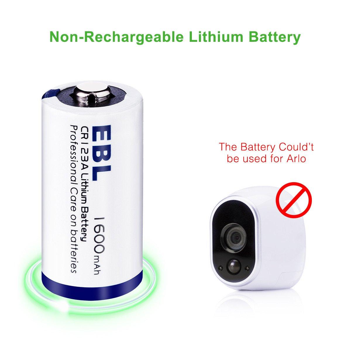 EBL CR123A 1600mAh Metal de Litio Batería CR123A 3V - para Linterna Cámara Digital Videocámara Juguetes Antorcha - 8 Unidades