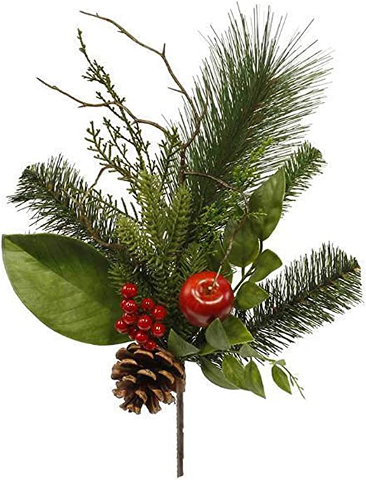 Amazon Com Christmas Spray Pick Mixed Pine Greenery Magnolia Apple Berries Pinecone Branch Accent For Wreaths Floral Arranging Vase Filler Diy Holiday Home Decor Artificial Green Red Brown 15 5 Inch Home Kitchen
