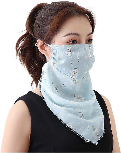 Neu B riou Damen Mundschutz Halstuch Multifunktionstuch Sommer UV-Schutz Atmungsakti Chiffon Tuch Schlauchtuch