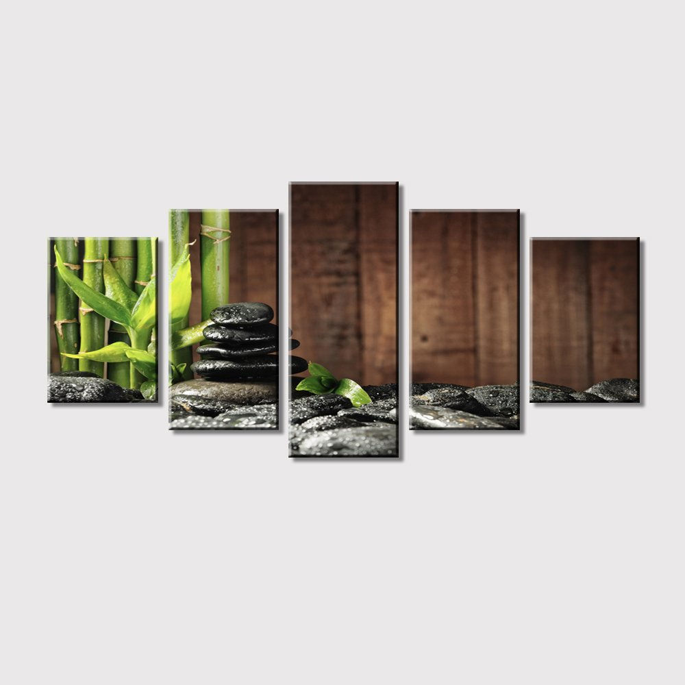 attractive Zen Wall Art Part - 10: Amazon.com: Green Bamboo Leaves over Black Rocks Stone Zen Wall Art Decor  Paintings, Stretched-Ready to Hang (Zen Art -4): Paintings