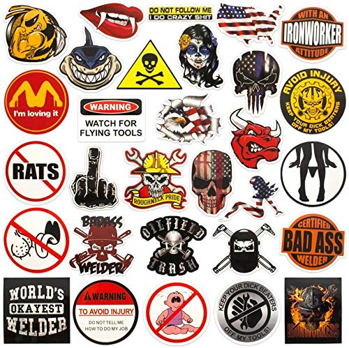 Hard hat stickers |Big 30-Pack | Badass American patriotic accessories for helmet,hardhat,welding,tool box,construction,union,military,ironworker,lineman,oilfield,electrician,pipeliner,ibew