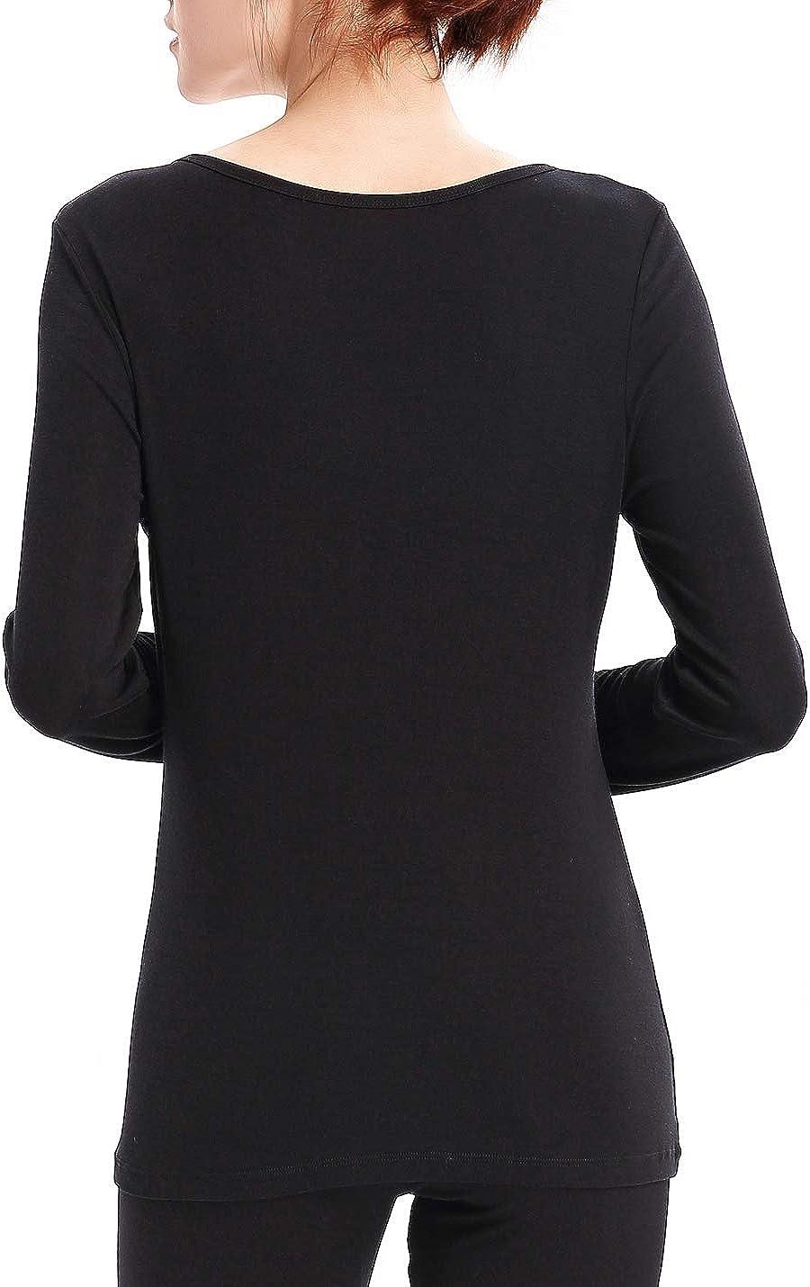 Liqqy Womens Scoop Neck Ultra Thin Long-Sleeve Thermal Underwear Shirt Tops
