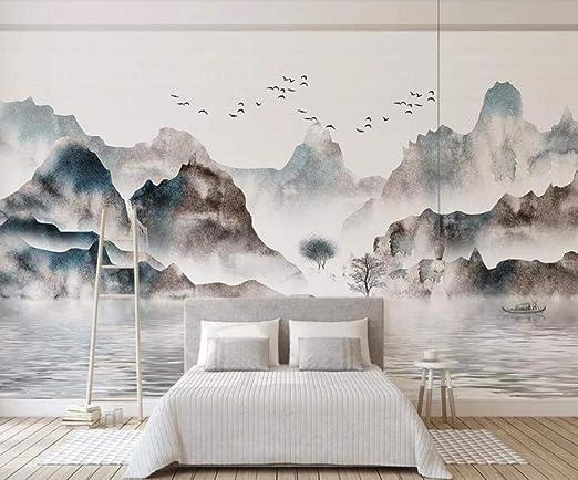 Sktyee Abstract Mountain View Mural Apartment Renovation