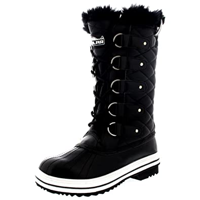 POLAR Womens Snow Boot Quilted Tall Winter Snow Waterproof Warm Rain Boot -  3 - BLL36