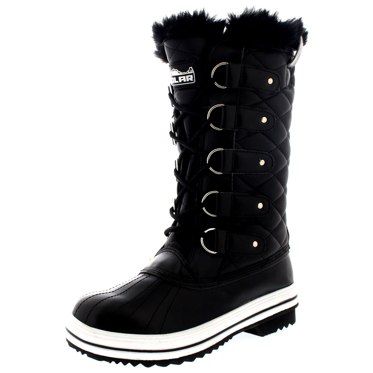 Polar Products Womens Snow Boot Quilted Tall Winter Snow Waterproof Warm Rain Boot - 9 - BLL40 YC0010