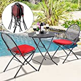 Quality 3 PCS Patio Outdoor Folding Steel Table and Chairs in Mesh Furniture Set, Perfect for Garden, Backyard or Pool Side