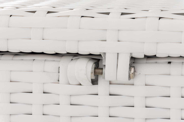 CLP Cassa Contenitore Polirattan Comfy Alluminio Baule Contenitore da Esterno Copertura Interna Impermeabile I Pouf Poggiapiedi da Giardino con Piedini Resistente RaggiUV Nero 150