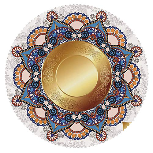 iPrint Round Tablecloth [ Gold Mandala,Faded Floral Backdrop with Ornamental Leaf Like Figures and Gold Circle Arabic,Multicolor ] Fabric Home Set
