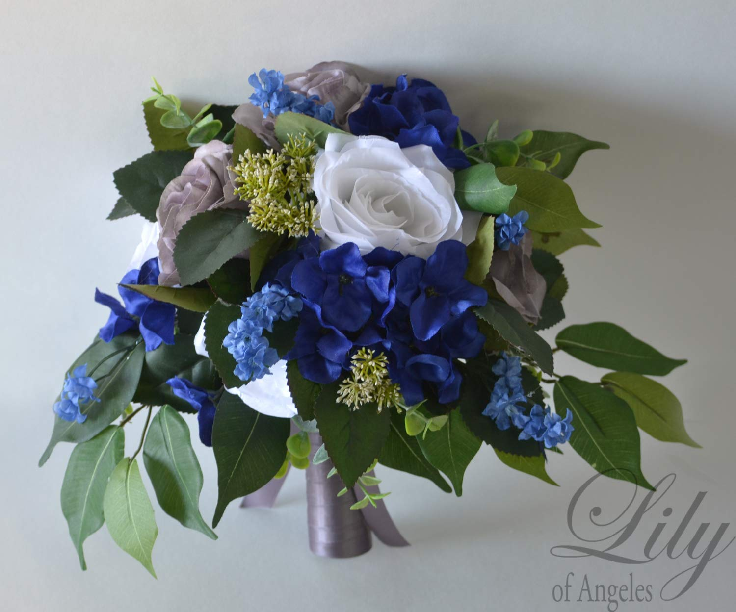 Amazon Com Wedding Bouquet Bridal Bouquet Bridesmaid Bouquet Silk Flower Bouquet Wedding Flower Royal Blue Grey White Blue Green Charcoal Lily Of Angeles Handmade