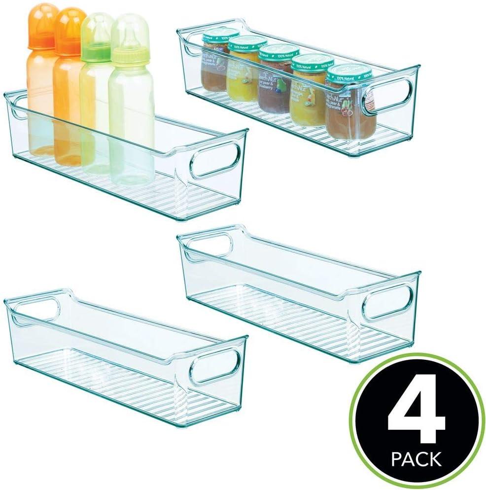 Stofftiere /& Co mDesign 4er-Set Kinderzimmer Organizer BPA-freier Kunststoffbeh/älter mit gro/ßem Fach f/ür Spielzeug Windeln hellblau ohne Deckel Sortierbox mit praktischen Griffen