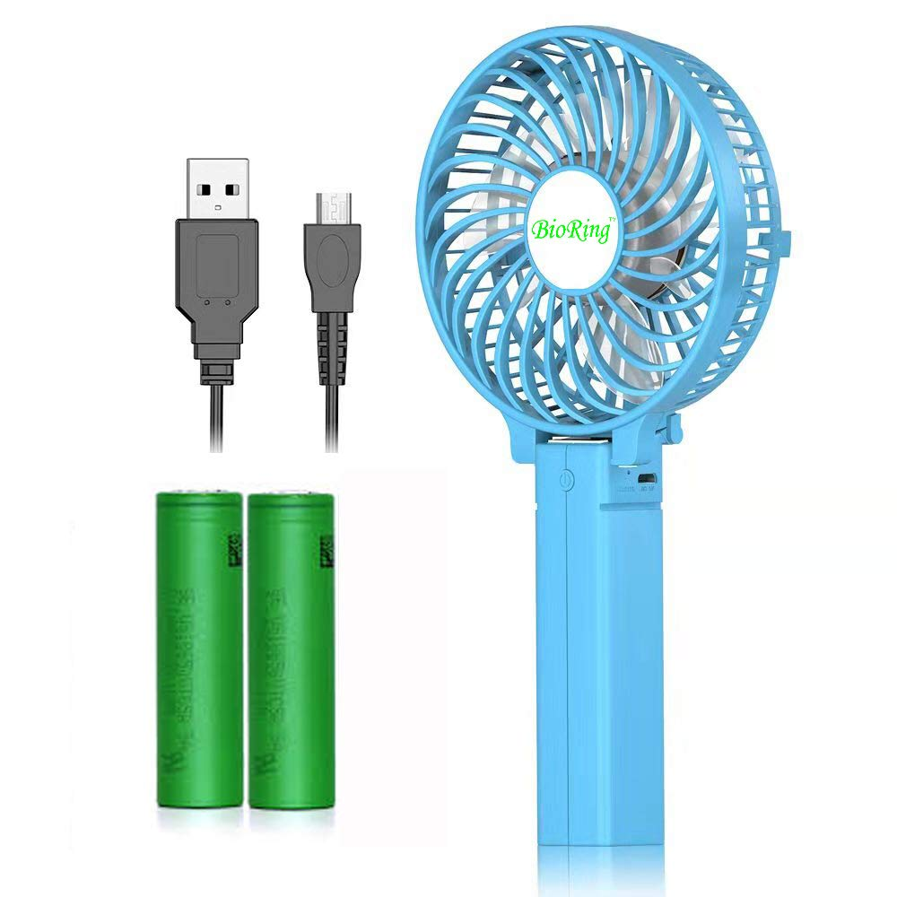 BioRing Handheld Portable Battery Operated Rechargeable USB Fan, Personal Fan for Travel Home and Office Use Strong Wind, Adjustable Angle Blue
