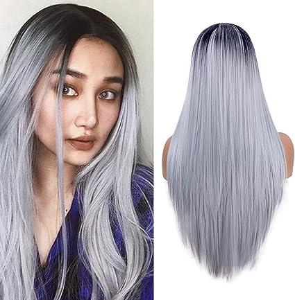 YMHPRIDE pelucas largas rectas para mujer moda gris plateado vestido elegante 22 pulgadas peluca Ombre peluca sintética resistente al calor de parte ...