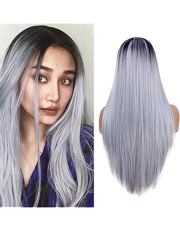Largas pelucas rectas para las mujeres moda plata gris vestido de lujo 22 pulgadas Ombre peluca