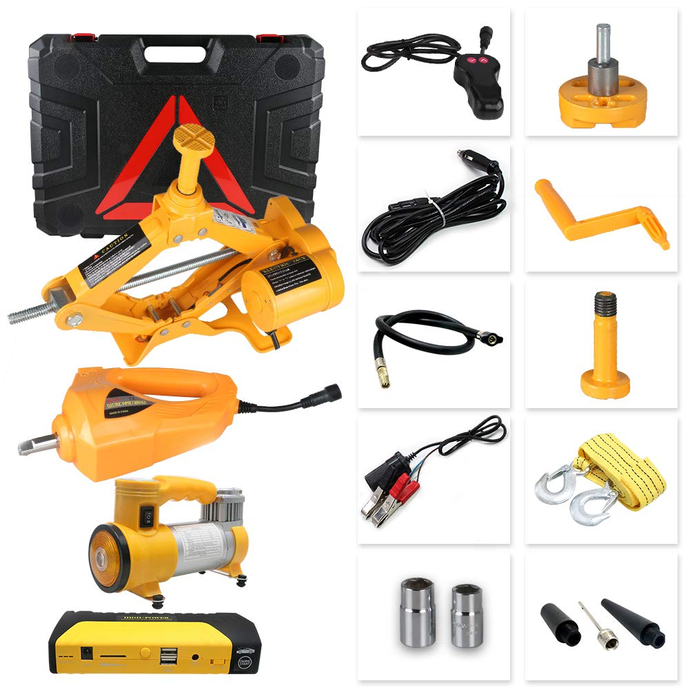 GOGOLO 4 in 1 Car Emergency Tool kit, 12V DC 3Ton(6600lb) Electric Hydraulic Floor Jack Set Electric Tire Pump Electric Impact Wrench Car Jump Starter with ...