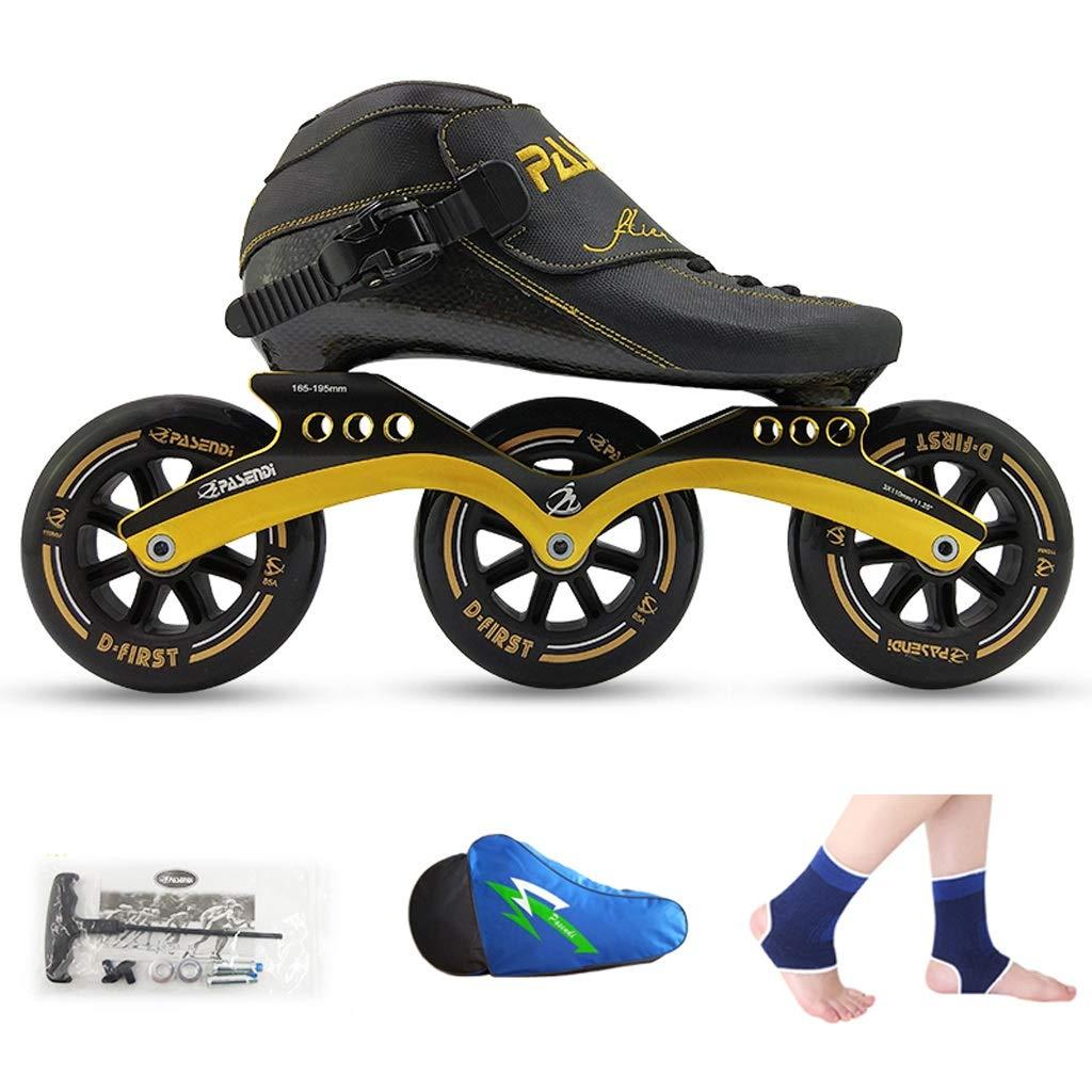 WEN ローラースケート、 スピードスケート靴、 レーシングシューズ、 子供の大人のプロスケート、 男性と女性のインラインスケート ローラースケート Inline skate (色 : Black shoes+yellow wheels, サイズ さいず : 45) B07QYD5379 32|Black shoes+black wheels Black shoes+black wheels 32