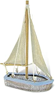 CoTa Global Pacific Blue Distressed Finish Mini Sailboat Replica Nautical Decor 3.75