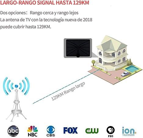 Kimwood Antena de TV HDTV, Antena Interior (Rango 95km-129km, 5m Cable Coaxial, Rango Adjustable, Amplificador de Señal y Avanzado, Fina y Ligera) ...