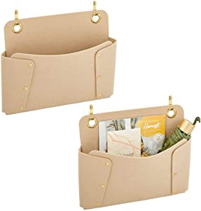 mDesign Soft Felt Over The Door Hanging Storage Organizer for Closets in Bedrooms, Hallway, Entryway, Mudroom - Hooks Included - Textured Print, 2 Pack - Tan/Gold